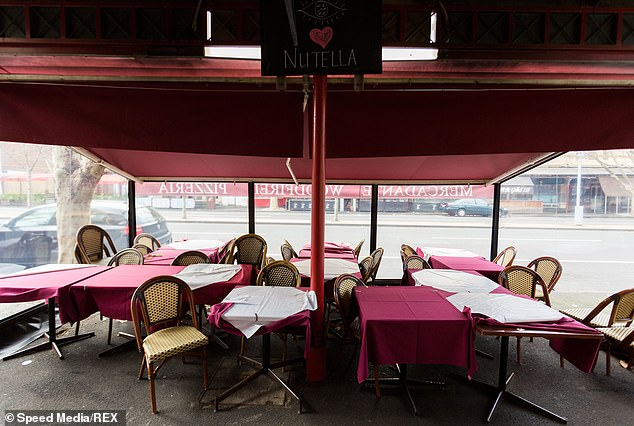 Venues in metropolitan Melbourne believe it will take at least two years to recover from the coronavirus restrictions (An empty restaurant on Lygon street in Melbourne's CBD pictured)