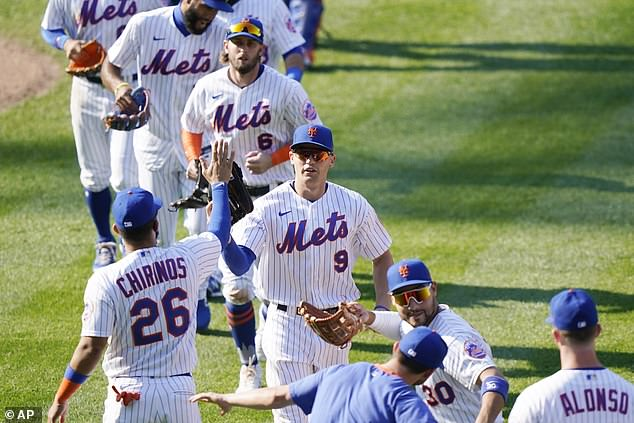 Meet the Mets: The team was seen celebrating a win over the Phillies last week