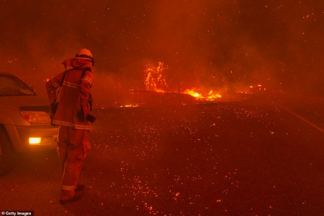 A fire fighter is pictured in California trying to beat back the Creek Fire on Tuesday in the north of the state