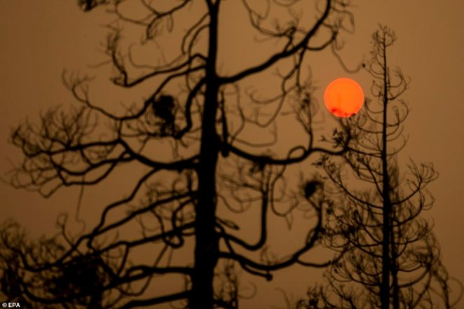 Smoke from the Creek Fire blots out the sun on Tuesday. Across large parts of California and Nevada the skies were orange
