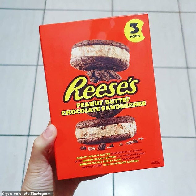 Australian shoppers can find the ice cream sandwiches in the freezer aisle at Coles, available in a pack of three for just $8.50, about $2.83 each