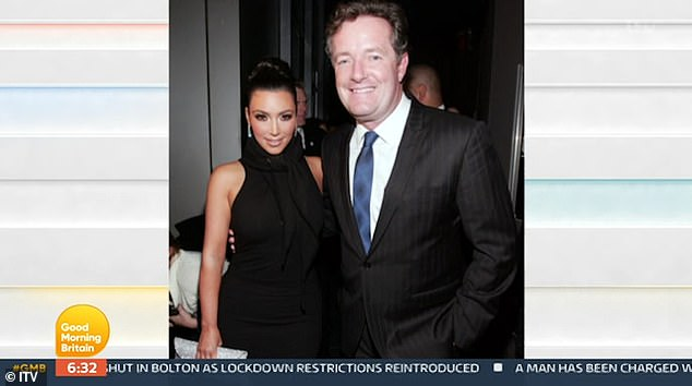 Happier times: Piers Morgan launched a scathing attack on Kim Kardashian clan during Wednesday's GMB following the announcement their reality show is coming to an end