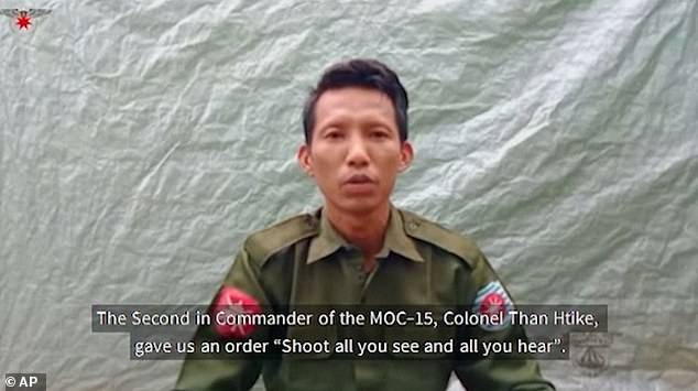Private Myo Win Tun, 33, said he was ordered to 'shoot all you see and all you hear' during a night time raid on a Rohingya village
