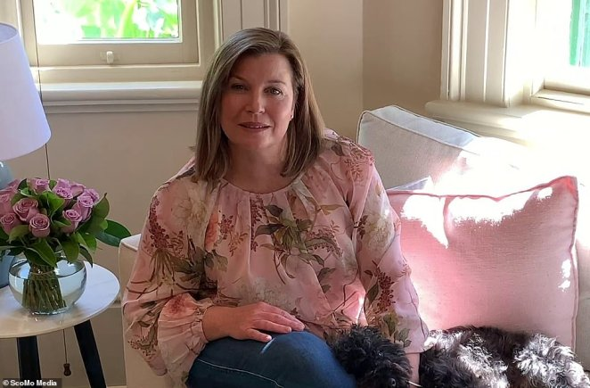 Mrs Morrison gave a glimpse inside her home when she recorded the video while sitting on the sofa with her dog Buddy