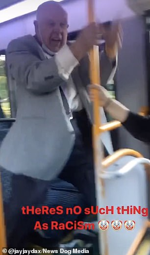 The pensioner is accused of calling the black passengers 'monkeys' to which he replies: 'Yes you're a monkey'