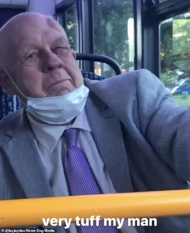 The pensioner jumps to his feet and appears to swing at the black passengers. He is then punched several times, leaving him with a black eye and a bump on his head