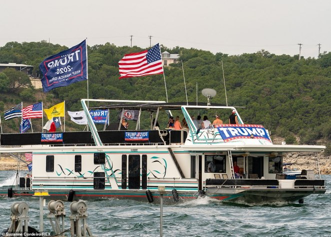 Hundreds of boats turned out for a massive flotilla in support of the president on Lake Travis, on the western edge of Austin
