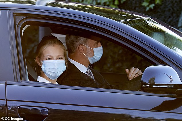 King Felipe, 52, accompanied his eldest daughter, who is heir to the throne, on the school run on Wednesday last week