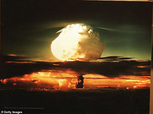 A photograph on display at The Bradbury Science Museum shows the first thermonuclear test on October 31, 1952