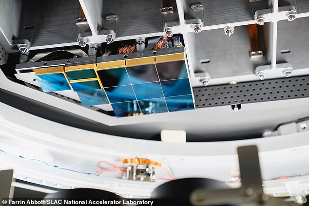 Individual imaging sensors and supporting electronics of the LSST Camera's focal plane are packaged into units, called rafts. There are two different types of units: 21 square rafts (centre), each containing nine sensors, will produce the images for Rubin Observatory's science program. An additional four speciality rafts with only three sensors each will be used for camera focusing and synchronising the telescope with Earth's rotation