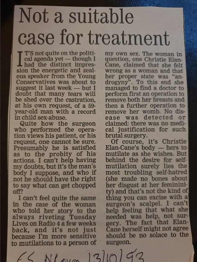 The article written by the author and cook in the Evening Standard in 1993, it was responding to a Radio 4 programme called Tuesday Lives at the time, in which Elan-Cane had talked about surgery to erase their gender