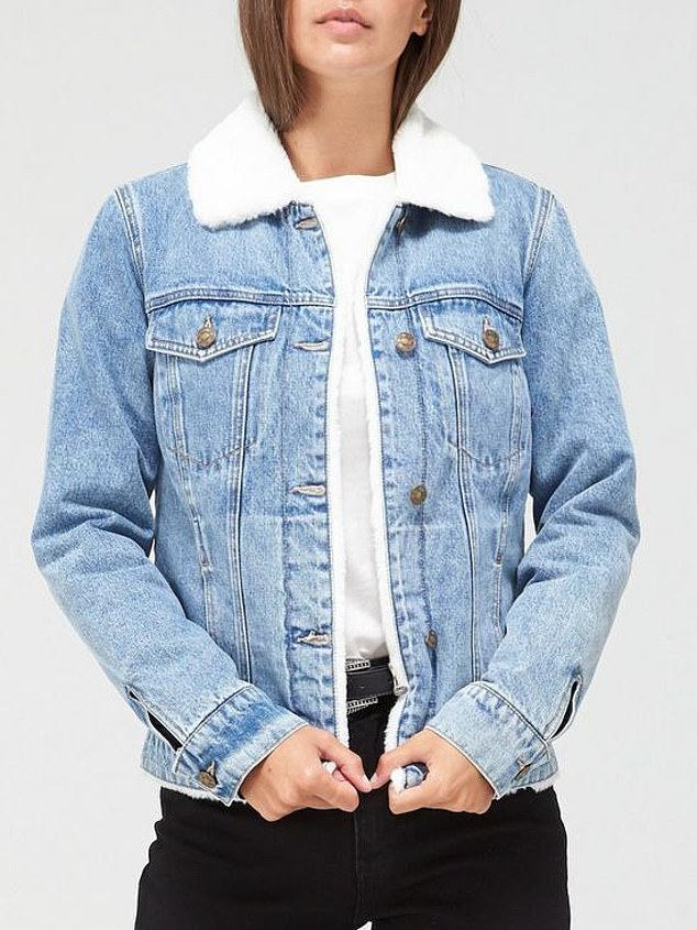 V by Very Faux Fur Lined Denim Jacket (£50) at Very