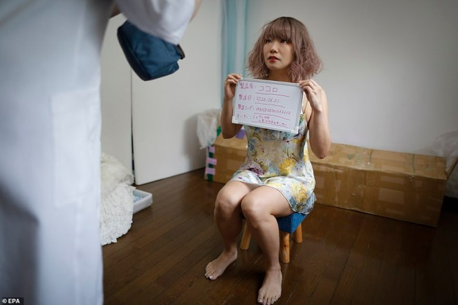 Ai poses for a product shoot as she displays her serial number and the name Kokoro after being transformed into a doll