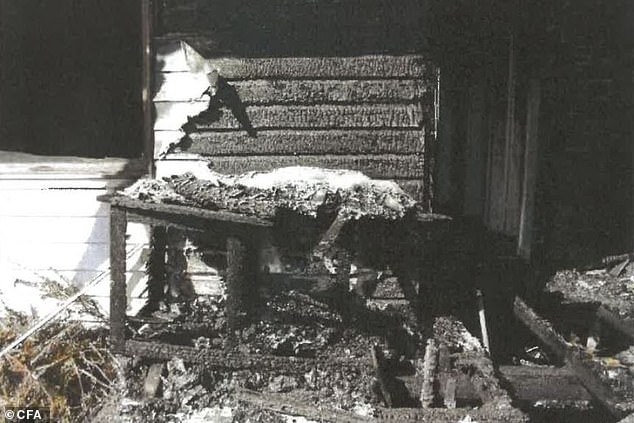 Hay has denied any involvement in the blaze which destroyed her neighbour's home (pictured), claiming to have slept through it in her house next door