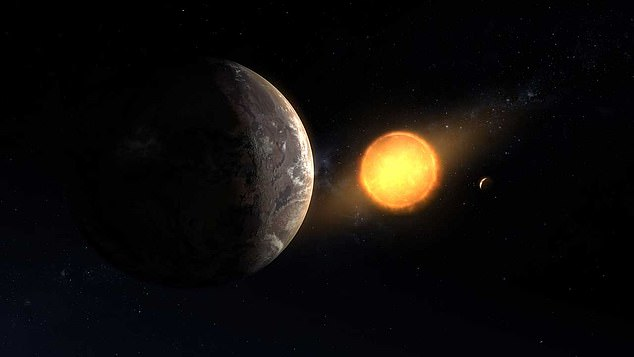 This is an artists impression of Kepler-1649 c orbiting its host star. It is a planet on the list of potential Earth-like worlds that wasn't already in the exoplanet catalogue habitability list