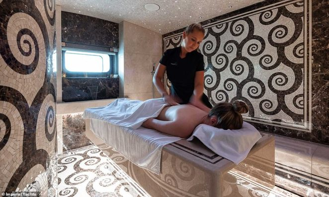 Take it easy:Once onboard, guests have all the amenities they could hope for with a luxurious spa featuring treatment rooms for those who want to relax, and a well-equipped gym for those looking to stay active