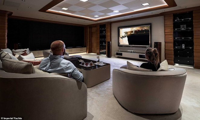Get cosy:There's also plenty on offer to keep guests entertained, with the yacht holding a cinema room with an impressive audio system as well as a giant outdoor pool on the deck