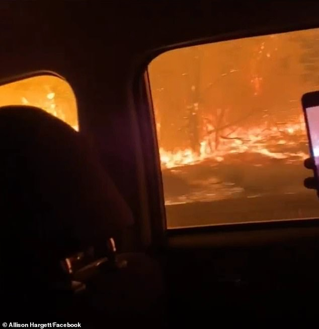 Allison filmed several videos from the car as her family fled to safety in the middle of the night