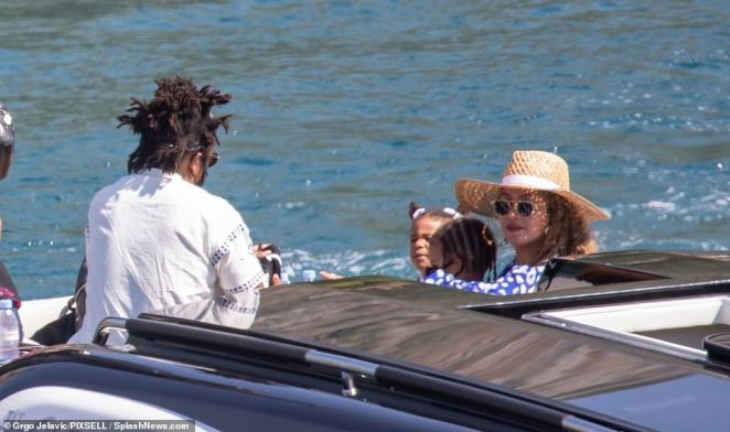 Fun in the sun:The Grammy-winning singer has been cruising around the coast of Cavtat, Croatia with Jay-Z, their daughter Blue Ivy, eight, and three-year-old twins Rumi and Suri