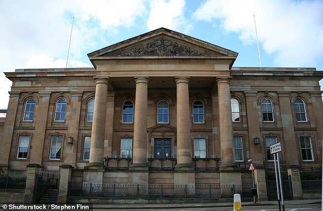 Menzie, of Dundee, admitted trying to extort £10,000 from the woman, known as JE, by threatening to expose her past in Dundee and Perthshire (pictured: Dundee Sheriff Court)