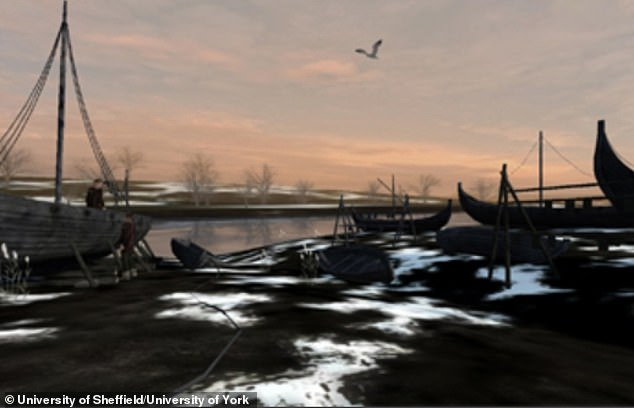 Depiction of theVikings¿ camp at Torksey by researchers at the University of York and University of Sheffield for Yorkshire Museum.Vikings used camp in winter to repair ships, melt down stolen loot, trade and play games