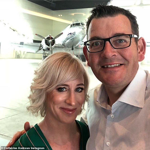Victorian Premier Daniel Andrews pictured with his wife Catherine. Journalists from The Herald Sun and The Australian have noticed Mr Andrews' wife has blocked them on social media platform Twitter