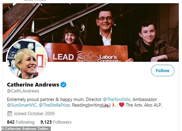 State political reporters for both publications - which have run heavy criticism of the premier's Stage Four restrictions in recent weeks - were blocked from seeing Mrs Andrews' posts (her profile pictured)