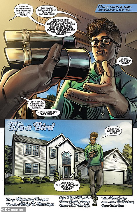 Its main character is a teenager birder names Jules, who is black. Jules is given a pair of binoculars by his father and told to explore his surroundings, but the teen quickly is quickly harassed by a number of characters who are seemingly threatened by his presence as an unannounced black man in an open space.