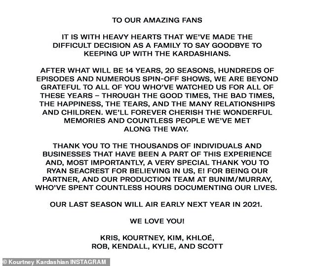 'We are beyond grateful to all of you who've watched us for all of these years,' their statement said