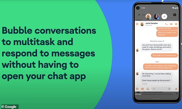Customers will also be able to choose to have their conversations, once selected from the notifications bar, to pop out into bubbles. This will float over the screen and other apps in a similar way as Facebook has managed for Messenger