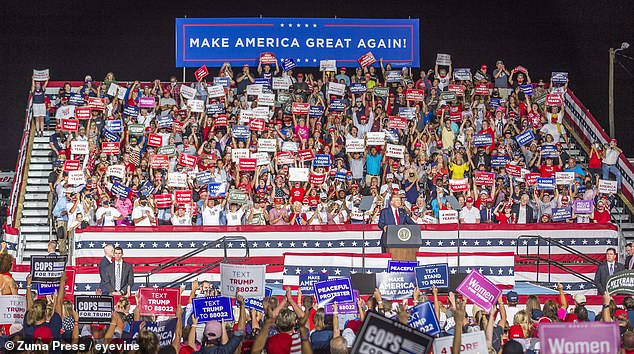 President Trump speaks to the large crowd during a Make America Great Again Rally for President Trump at the Smith Reynolds Regional Airport in Winston-Salem, NC