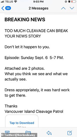 The email (pictured) was sent with two attachments, one being a photo of Kori during a news segment in which she wore a white V-neck blouse with a colourful necklace.