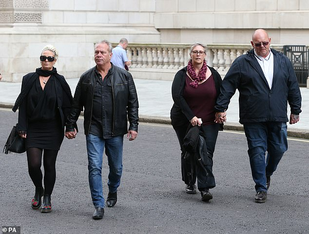 File photo dated yesterday shows the family of Harry Dunn, mother Charlotte Charles (left) and father Tim Dunn (right) with their partners, arriving at the Foreign and Commonwealth Office in London, where they met with Foreign Secretary Dominic Raab