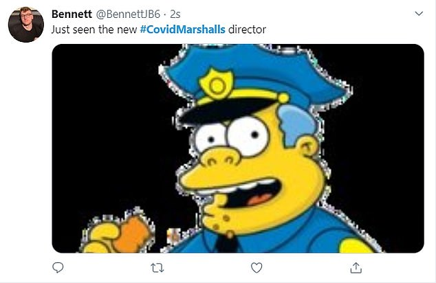 Bumbling policeman Chief Wiggum from The Simpsons was another character referenced by mocking social media users