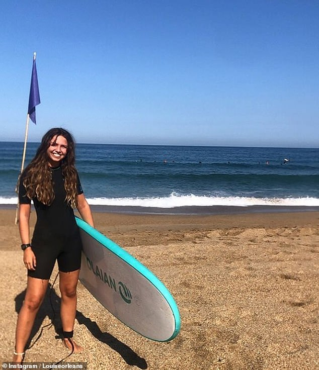Princess Louise d'Orleans (pictured), the daughter of the Duke and Duchess of Chartes, was living it up with a surfing holiday in Biarritz