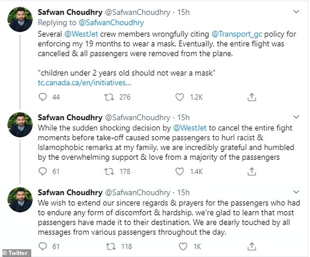 Choudry thanked the other passengers in a tweet after the incident
