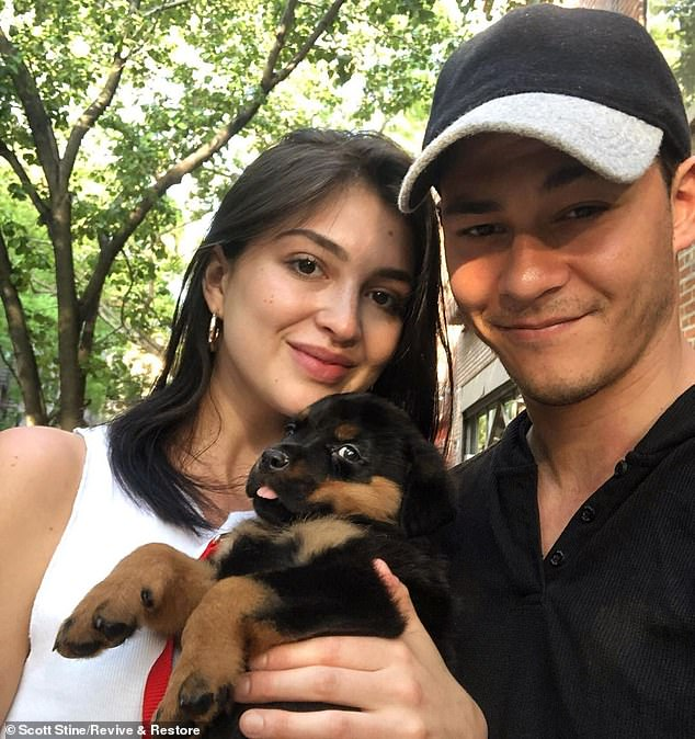 In other posts she happily pictures bridal gowns and the couple introduce their puppy Frank (pictured). Last August Emmons posted: 'You are my favorite part of life and I will love you forever'