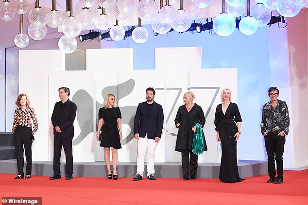 Line-up: The trio joined other members of the jury for the event at the 77th annual Venice Film Festival