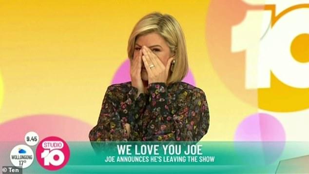 Longtime pals: Joe's 'work wife' Sarah Harris was overcome with emotion as she listened to Joe resign live on air
