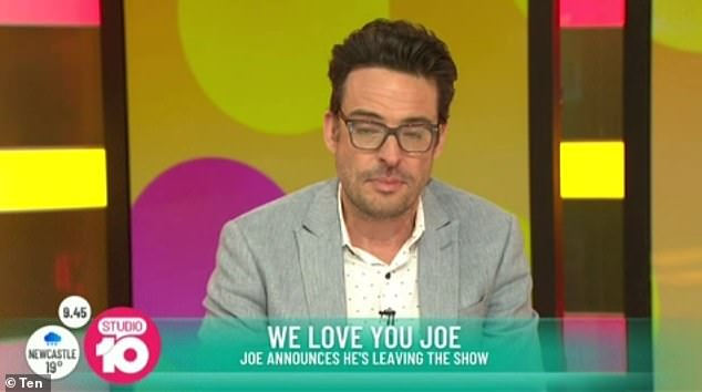Welling up with emotion: Joe began tearing up as he gushed about his 'wonderful seven years' on the show, as well as his relationship with his 'work wife' Sarah Harris