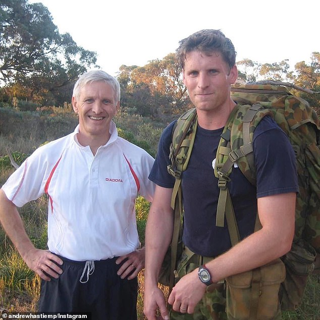The Inter-Parliamentary Alliance on China includes 13 Australian politicians, including prominent China critics Liberal MP Andrew Hastie (pictured with his father when he joined the SAS) and Labor Senator Kimberly Kitching