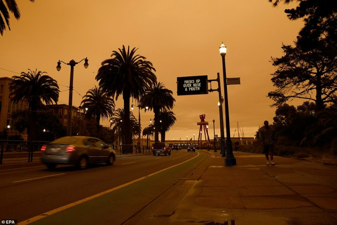 An orange sky in the early afternoon as seen from King Street in San Francisco