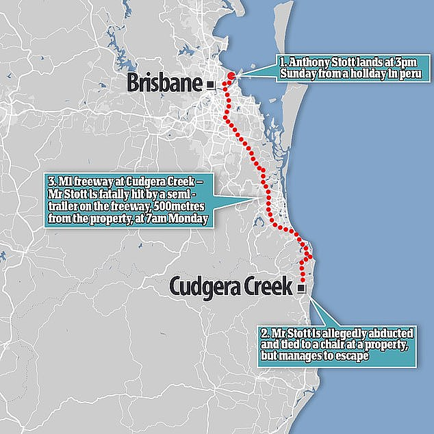 Faulkner was driving at the speed limit of 100km/h, completing his standard daily route from Ballina to Brisbane, when Mr Stott climbed a fence and rushed onto the highway directly in front of him