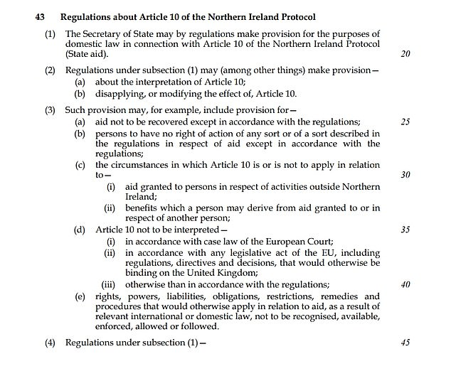 The Internal Market Bill, published yesterday, would unilaterally decide details that Brussels insists must be settled by the joint committee, including customs arrangements between mainland Britain and Northern Ireland
