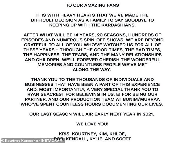 Goodbye! A joint statement from the family expressed their gratitude to their fans