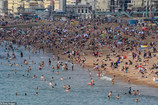 Brighton beach was packed earlier this summer as the South of England basked in a glorious heatwave on August 8