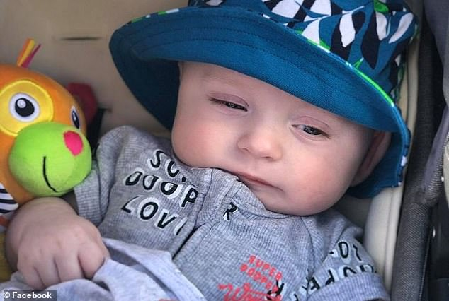 Spencer (pictured) has been remembered as a 'beautiful, fun, lovely, energetic, precious little baby boy' who was 'adored by his brothers and sisters Rhylee, 16, Deklan, 14, Jacob, 13, and Kaylah, 12'