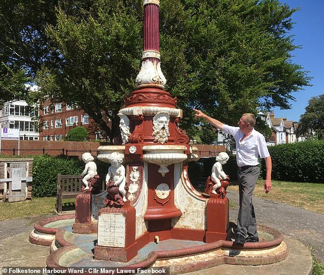 Bob Mouland, 71, was issued with an anti-social behaviour warning after taking it upon himself to paint and preserve rustedSidney Cooper Weston Fountain in Folkestone, Kent