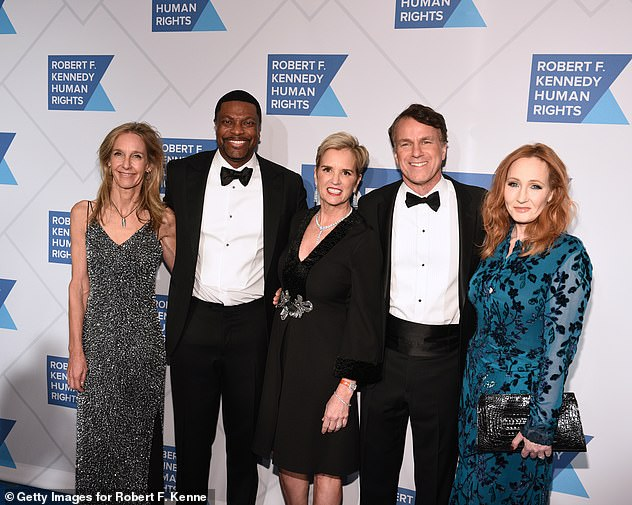 Pictured from left to right: Wendy Abrams, actor Chris Tucker, Kerry Kennedy, Glen Tullman, and JK Rowling attend the Robert F. Kennedy Human Rights Hosts 2019 Ripple Of Hope Gala & Auction In NYC on December 12, 2019 in New York City