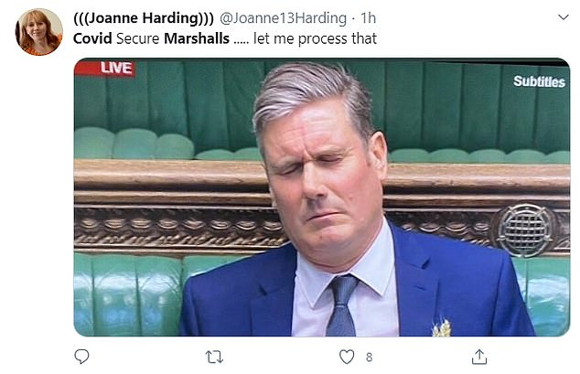 A displeased Sir Keir Starmer was also used in reaction to the Prime Minister's announcement